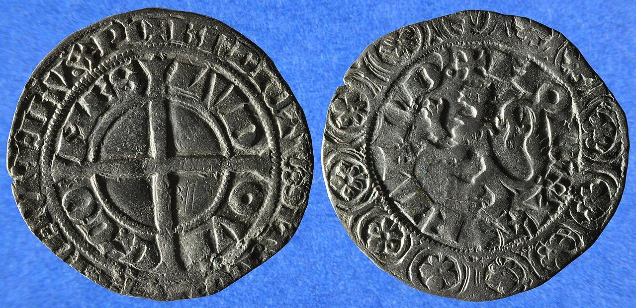 Une monnaie en argent, un gros compagnon ou gros au lion, de Louis II de Mâle (1346-1384), comte de Flandre, de Nevers et de Rethel, non datée mais émise entre 1346 et 1364.